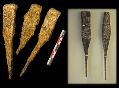 (21) Cinceles de hierro (Dessobriga). Derecha: ejemplares del Musée d'Archéologie et d'Histoire de Vix (siglos I-III d.C.).